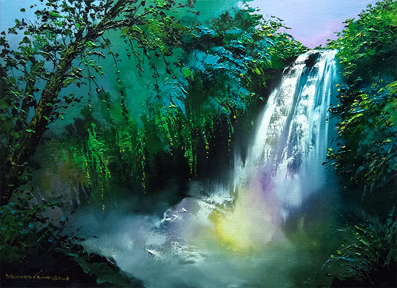 瀑布下的彩虹